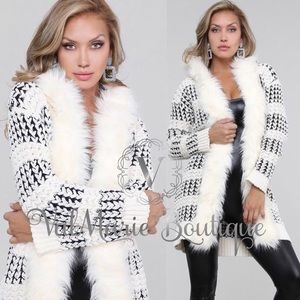 COMING SOON! Ivory and navy fur collar cardigan